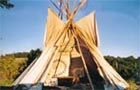 View of an open tipi
